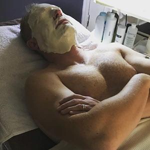 man having a spa facial